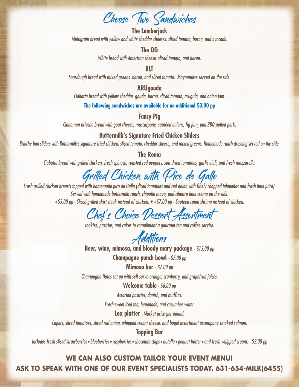 Catering Menu Page 2